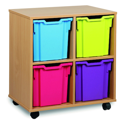 Mobile Tray Storage Unit With 4 Jumbo Trays  large