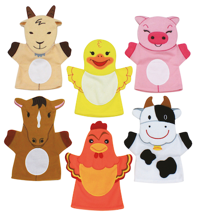 Role Play Farm Animal Hand Puppets Set 6pcs  large