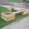 Log Planter and Wooden Bench Set  small