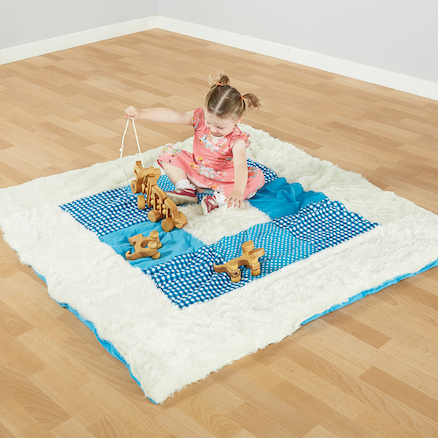 Teal Textured Baby Mat and Cushions  large