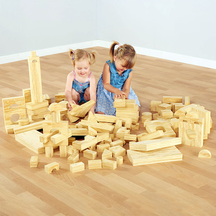 Soft Wood Effect Foam Construction Blocks  large