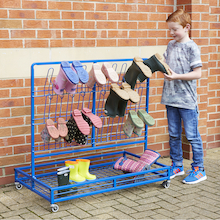 Double Sided Wellie Rack and Coat Rail  medium