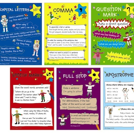 Laminated Punctuation Poster Set A4 6pk  large