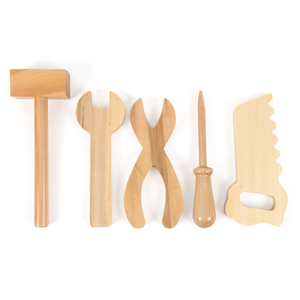 Assorted Wooden Tool Collection 5pcs and Caddy  large