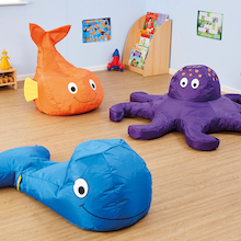 Pack of 3 Sealife Beanbags Octopus, Whale & Fish  medium