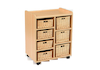Storage Unit with 4 Shallow 3 Deep Wicker Baskets  small