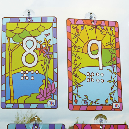 Stained Glass Window Number Panels PVC 1\-20  large