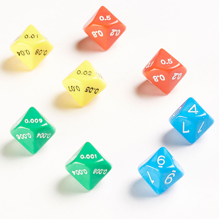 10 Sided Coloured Decimal Dice 8pk  large