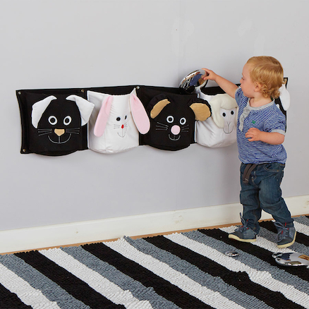 Black and White Wall Mounted Storage Pockets 132cm  large