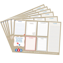 TTS Week Planner Notepads 19.5 x 27.5cm 6pk  medium