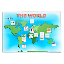 Magnetic World Map and 50 Illustrated Pieces A3  medium