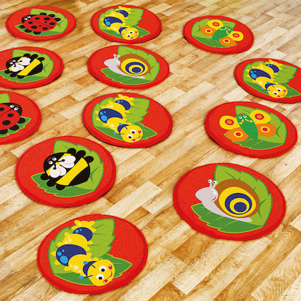 Mini Bug Circular Floor Mats 14pk  large
