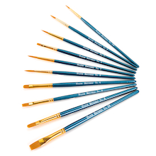 Synthetic Sable Flat/Round Brushes Assorted  medium