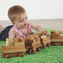 Wooden Toddler Train with Building Blocks  medium