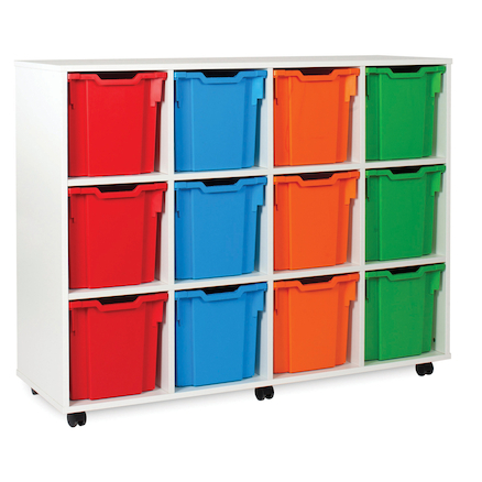 White Tray Storage Unit With 12 Jumbo Trays  large