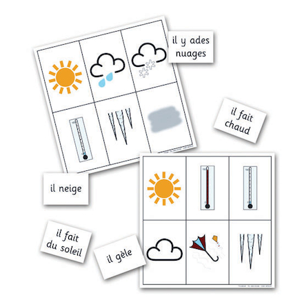 Weather French Vocabulary Bingo Game  large