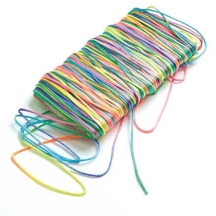 Rainbow Coloured Satin Beading Cord 91m  large