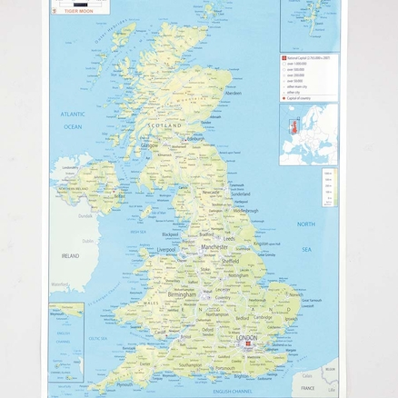 UK Physical Map A1  large