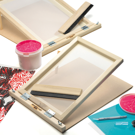 Hinged Silkscreen Frame And Squeegee  large