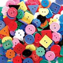Large Brightly Coloured Craft Buttons 1lb Bag  medium
