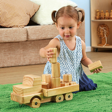 Giant Wooden Truck with Building Blocks  medium