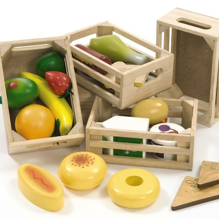 Wooden Role Play Healthy Eating Foods in Crate  large