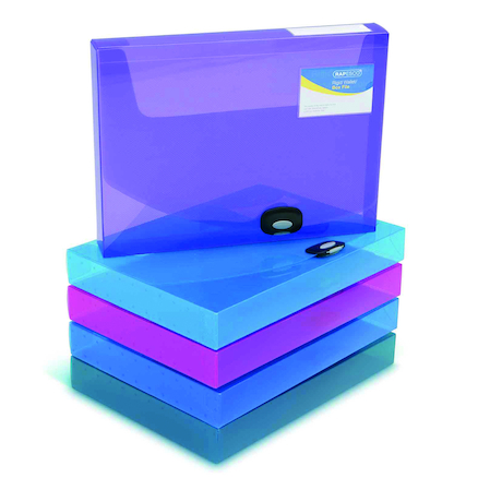 Assorted A4 Rigid Wallet Box File 5pk  large