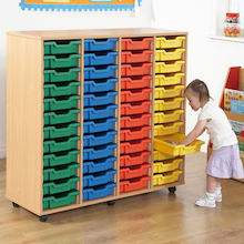 Mobile Tray Storage Unit With 48 Shallow Trays  medium