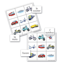Transport French Vocabulary Bingo Game  medium