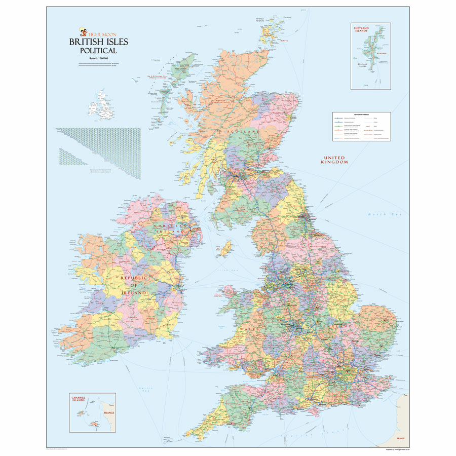 E Commerce Site Map: Buy UK Physical Political Reversible Map A0