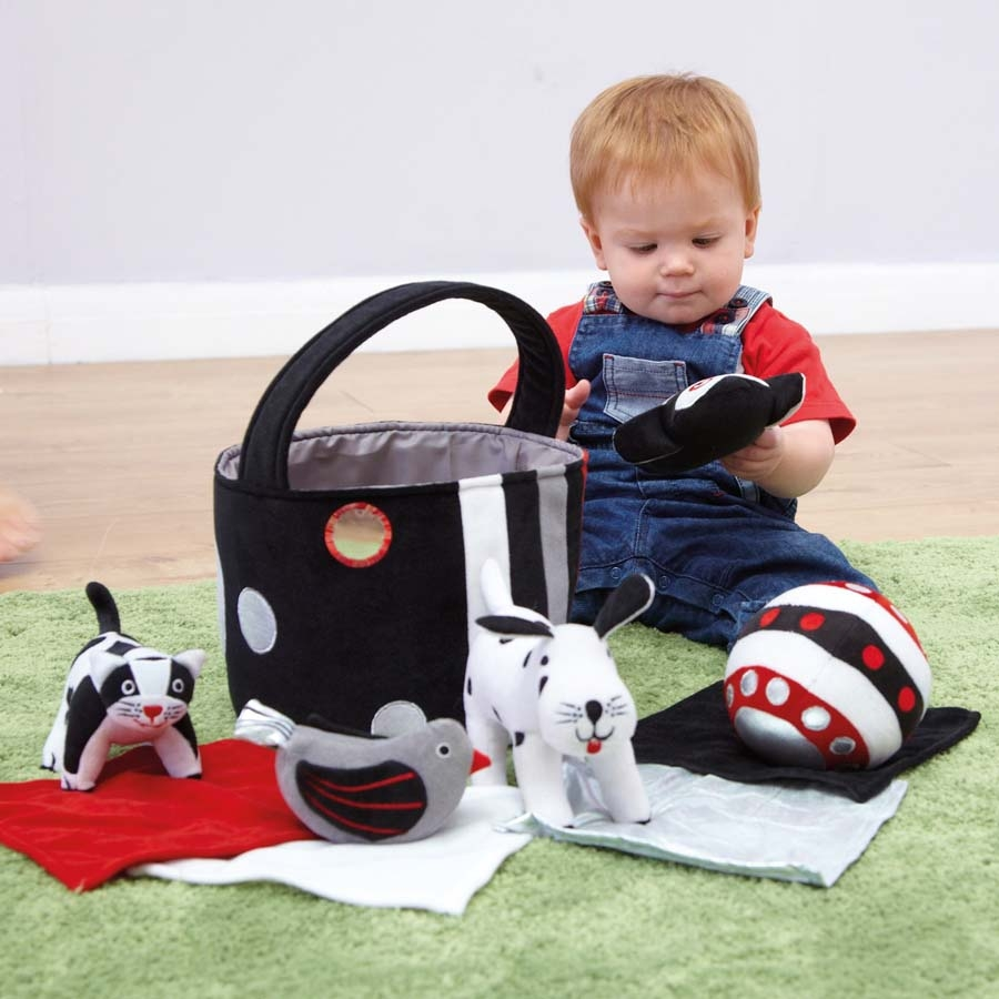 Toddler Toys Black And White : Buy black and white soft baby toys in basket tts