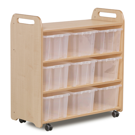 Millhouse Shelf with Back with 9 Clear Tubs  large