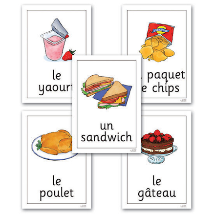 Food and Drink French Flashcards A4 24pk  large