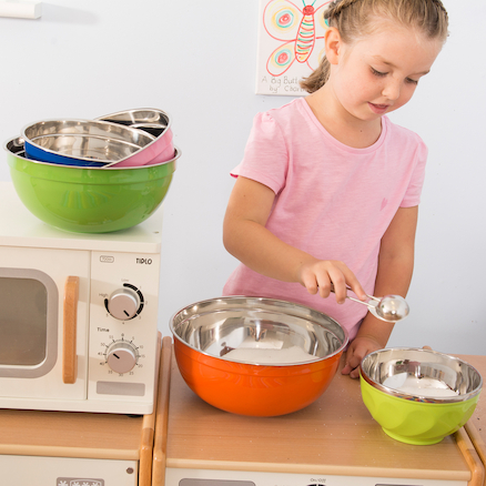 Budget Colourful Plastic and Metal Bowl Set  large