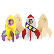 Wooden Rocket Ship Photo Frames 12pk  medium