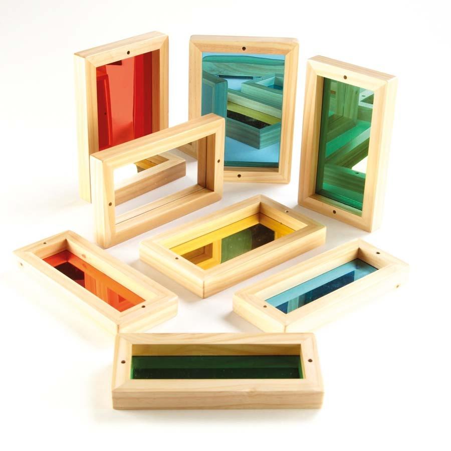 Buy Wooden Framed Coloured Babies Mirrors 8pk Tts