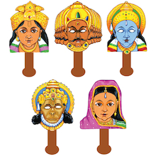 Rama and Sita Role Play Masks 5pk  medium