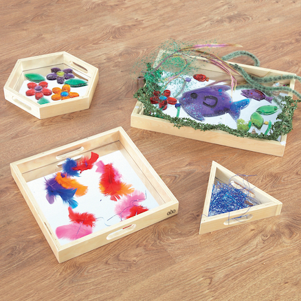 Wooden Mirror Trays 4pk  large