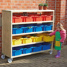 Large Outdoor Wooden Mobile Shelving Unit  medium