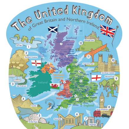 Buy Outdoor UK Wall Map With Famous Landmarks TTS - Large wall map of uk