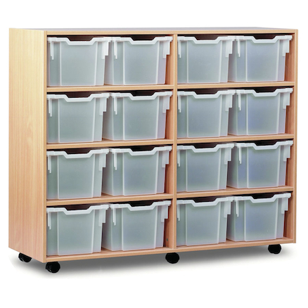 Mobile Tray Storage Unit With 16 Extra Deep Trays  large