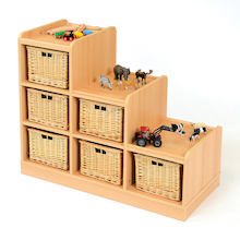 Tiered Storage Units With Wicker Baskets  medium