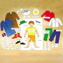 Clothing French Vocabulary Magnetic Chart  medium