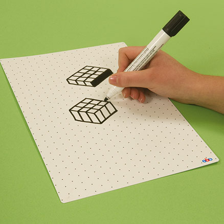 Dry Wipe Whiteboards With Isometric Grid 35pk  large