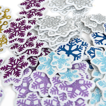 Glittery Foam Snowflakes 300pk  medium