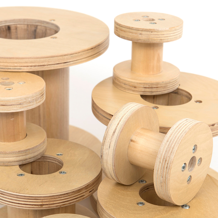 Assorted Outdoor Wooden Reels 8pk  large