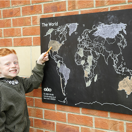 World Map Outdoor Chalkboard H60 x W80cm  large