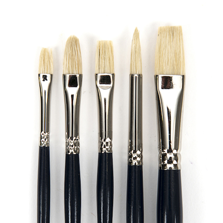 Short Handle Hog Hair Paint Brushes 5pk  large