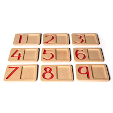 Wooden Number Trays  medium