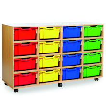 Mobile Tray Storage Unit With 16 Deep Trays  medium